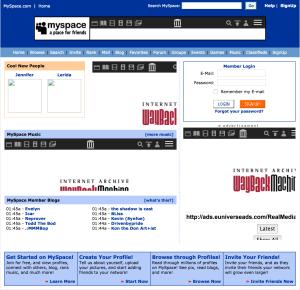 Myspace.com UI from 2005